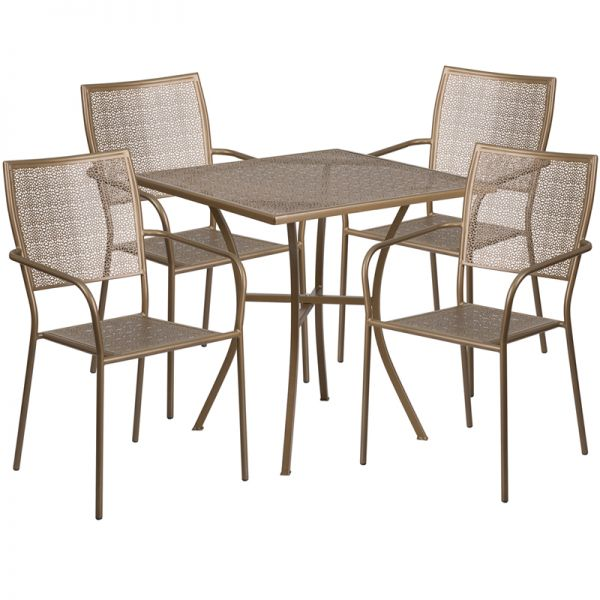 Flash Furniture 28'' Square Gold Indoor-Outdoor Steel Patio Table Set with 4 Square Back Chairs