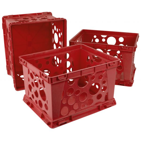 Storex Mini Crate, Red (Case of 3)