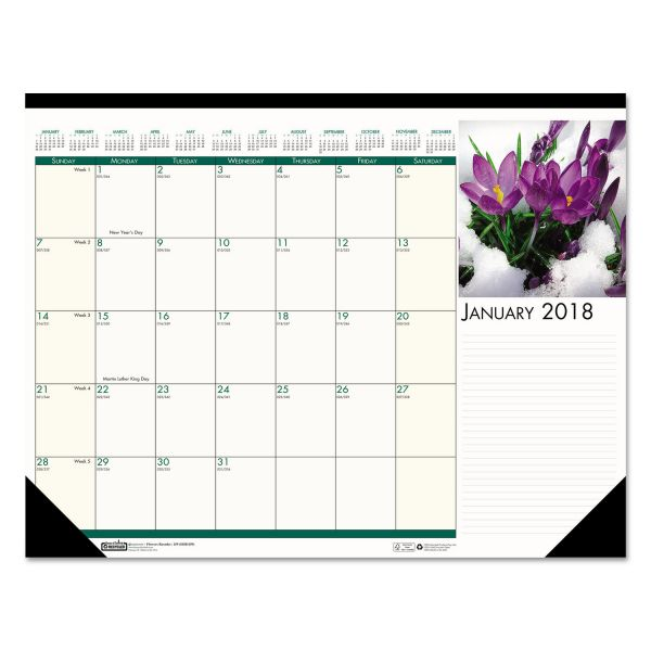 House of Doolittle Floral Photographic Monthly Desk Pad Calendar