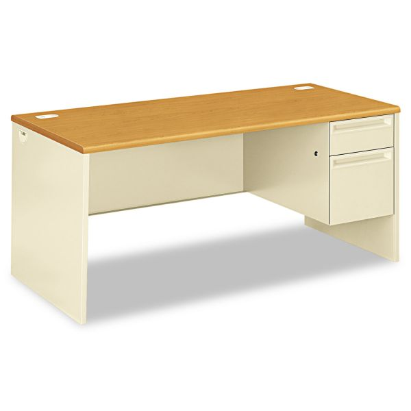 HON 38000 Series Right Pedestal Desk, 66w x 30d x 29-1/2h, Harvest/Putty