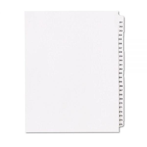 """Kleer-Fax 80000 Series Side Tab Legal Index Divider Set,  Printed """"251""""-""""275"""""""