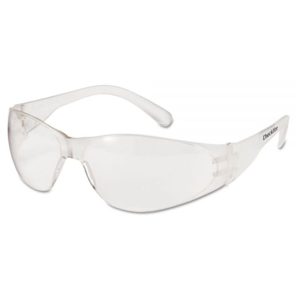 Crews Checklite Safety Glasses, Clear Frame, Clear Lens