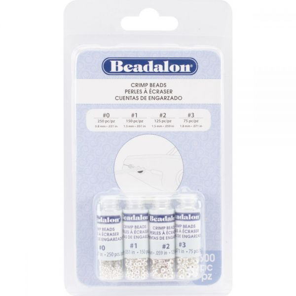 Beadalon Crimp Bead Variety Pack Sizes #0, #1, #2, #3 600/Pkg