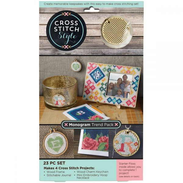 Wood Monogram Trend Pack Punched For Cross Stitch Kit