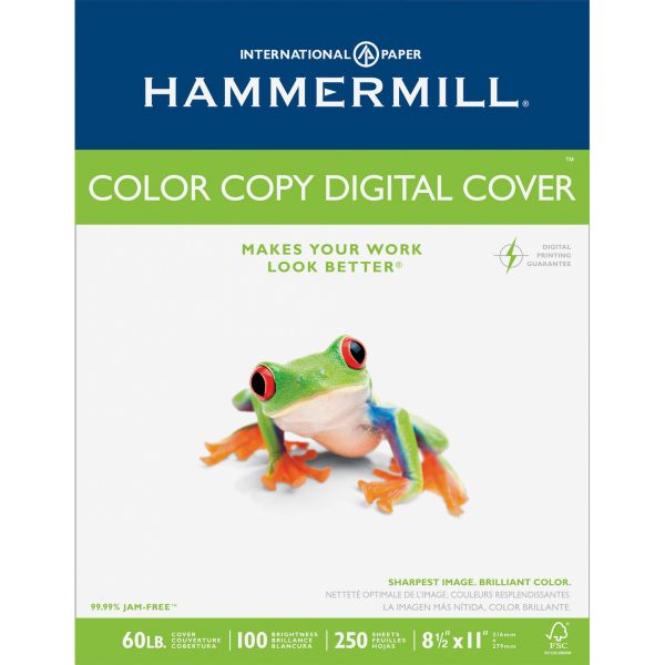 Hammermill Copier Digital Cover Stock, 60 lbs., 8 1/2 x 11, Photo White, 250 Sheets
