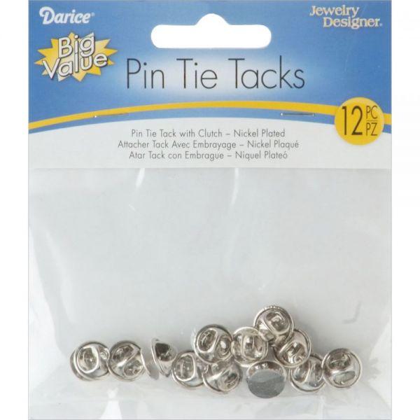 Brass Tie Tacks W/Clutch 12/Pkg
