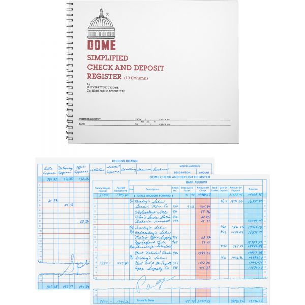 Dome Publishing Check & Deposit 10 Column Ledger Book