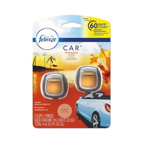 Febreze CAR Air Freshener, Hawaiian Aloha, 2 ml Clip, 2/Pack