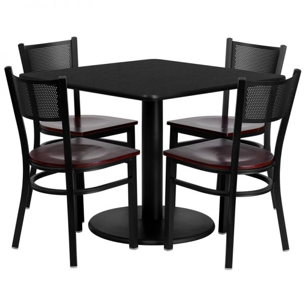 Flash Furniture 36'' Square Black Laminate Table Set with 4 Grid Back Metal Chairs - Mahogany Wood Seat