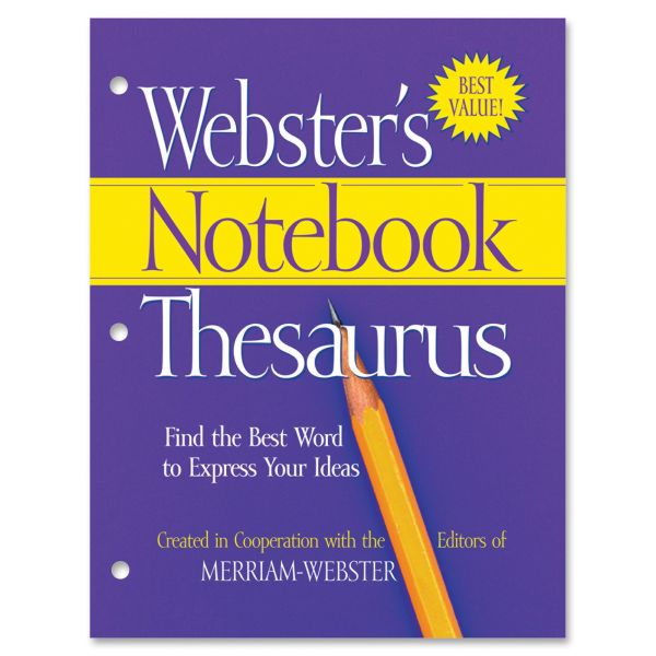Advantus Notebook Thesaurus, Three Hole Punched, Paperback, 80 Pages