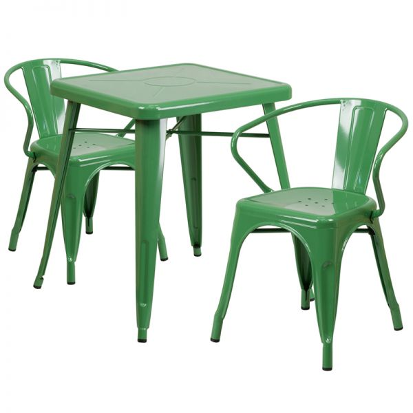 Flash Furniture 23.75'' Square Green Metal Indoor-Outdoor Table Set with 2 Arm Chairs
