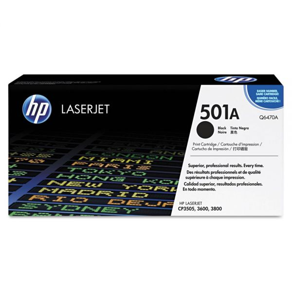 HP 501A Black Toner Cartridge (Q6470AG)