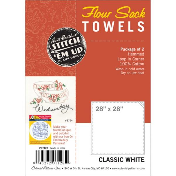 "Stitch 'Em Up Flour Sack Towels 28""X28"" 2/Pkg"