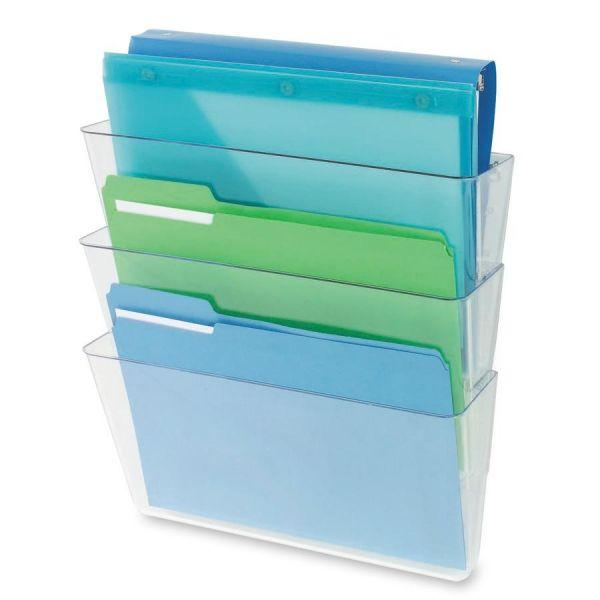Deflect-o Three-Pocket Partition Hanging Wall File Pockets