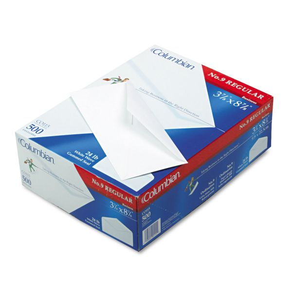 Columbian Gummed Flap Business Envelope, #9, 3 7/8 x 8 7/8, White, 500/Box