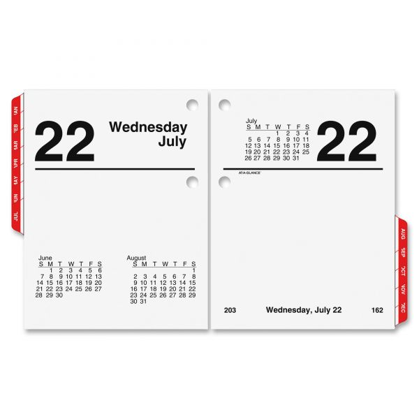 At-A-Glance Compact Daily Desk Calendar Refill w/Tabs