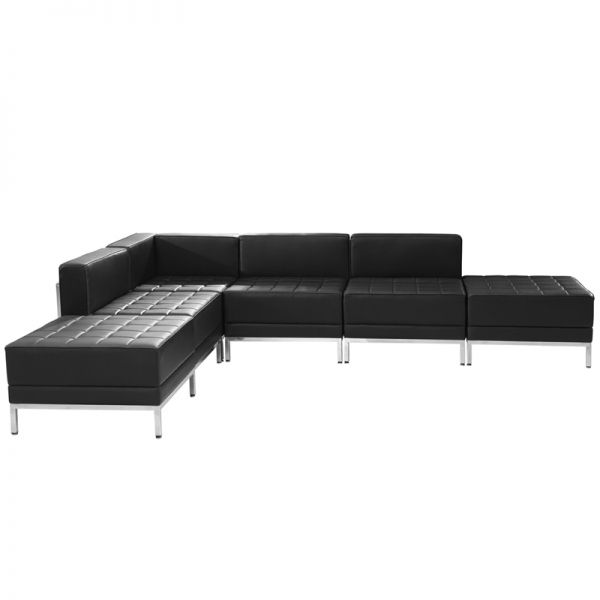 Flash Furniture HERCULES Imagination Series Black Leather Sectional Configuration, 6 Pieces