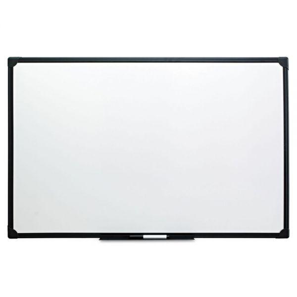 Universal Dry Erase Board, Melamine, 48 x 36, Black Frame