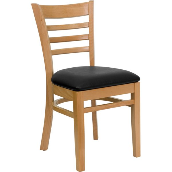 Flash Furniture Ladder Back Wooden Restaurant Chair [XU-DGW0005LAD-NAT-BLKV-GG]