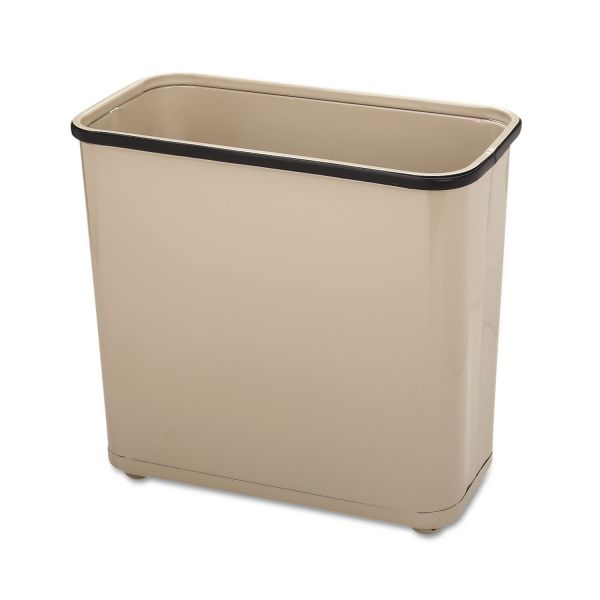 Rubbermaid Commercial Fire-Safe Wastebasket, Rectangular, Steel, 7.5gal, Almond