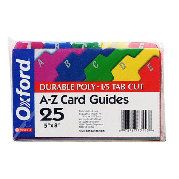 Esselte A-Z Durable 1/5 Cut Tab Poly Card Guides