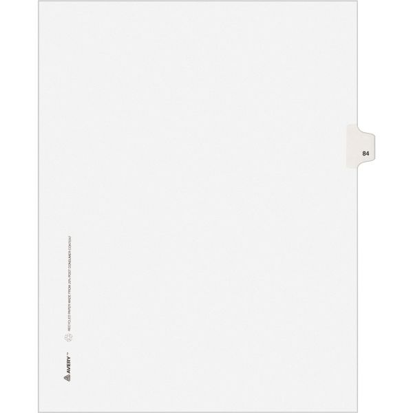 Avery-Style Legal Exhibit Side Tab Divider, Title: 84, Letter, White, 25/Pack