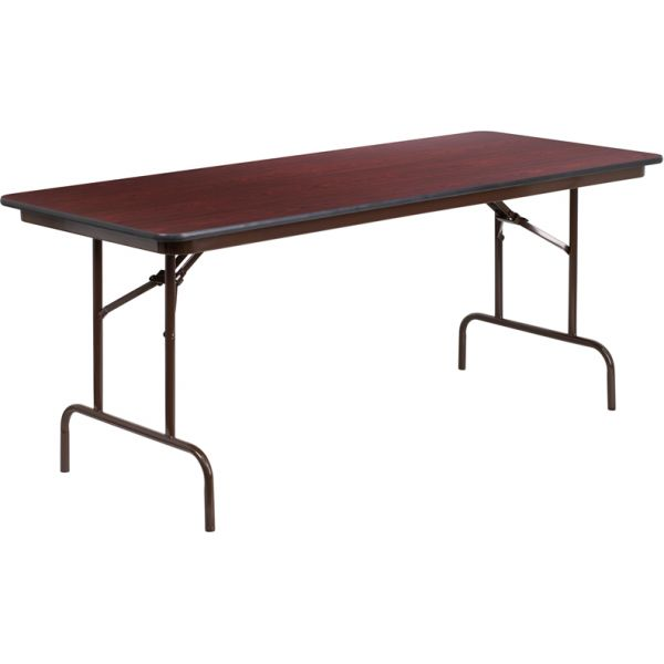 Flash Furniture 30'' x 72'' Rectangular High Pressure Mahogany Laminate Folding Banquet Table