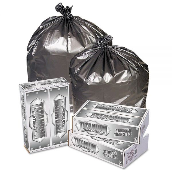 Titanium Low-Density Can Liners, 33 gal, 1.5 mil, 33 x 40, Silver, 100/Carton