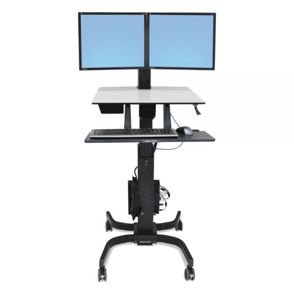 Ergotron WorkFit-C Sit-Stand Workstation, Dual, 36 1/2 x 32 1/4 x 44 1/2, Black