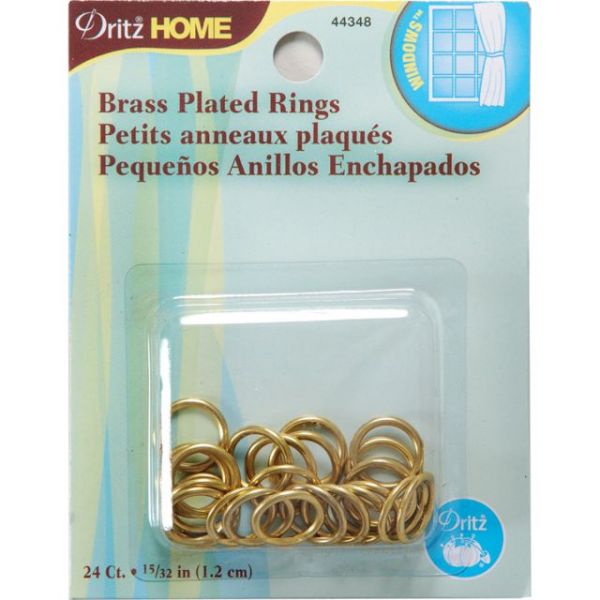 "Brass Plated Rings 15/32"" 24/Pkg"