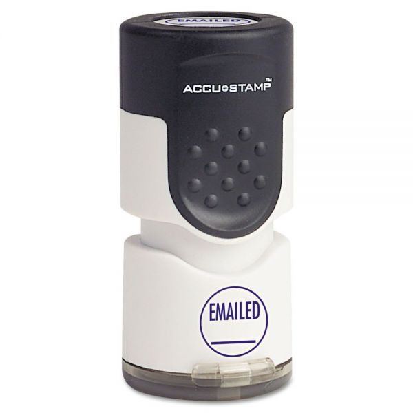 "ACCUSTAMP Pre-Inked Round Stamp, EMAILED, 5/8"" dia, Blue"