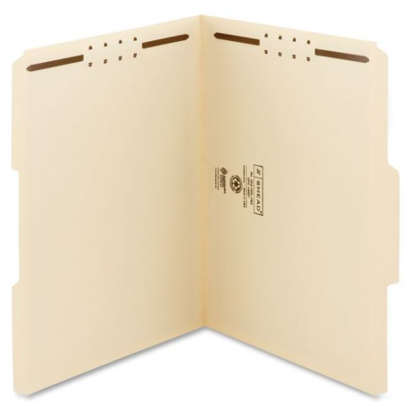 Smead WaterShed/CutLess Manila File Folders With Fasteners