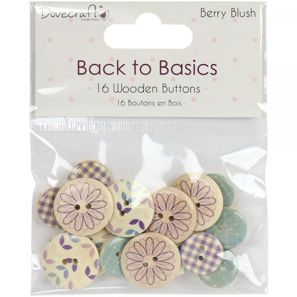 Dovecraft Back To Basics Berry Blush Wooden Buttons 16/Pkg
