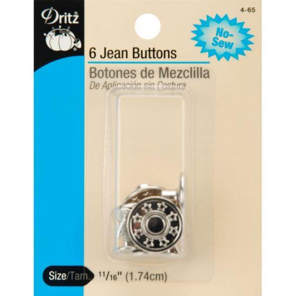 "No-Sew Jean Buttons 5/8"" 6/Pkg"