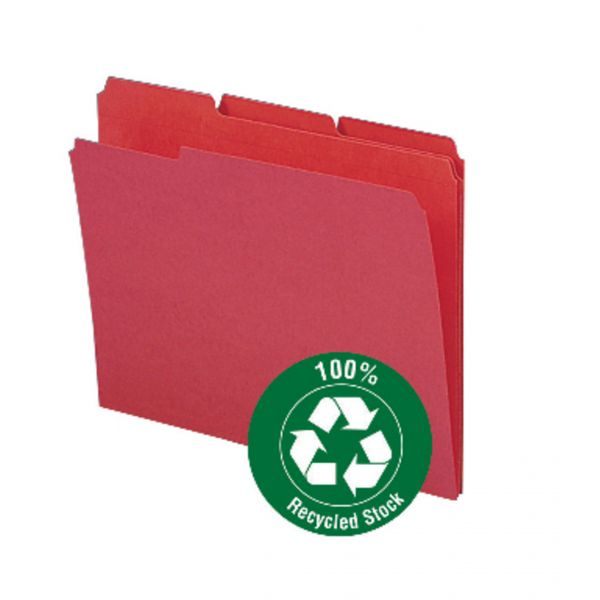 Smead 100% Recycled Red Colored File Folders
