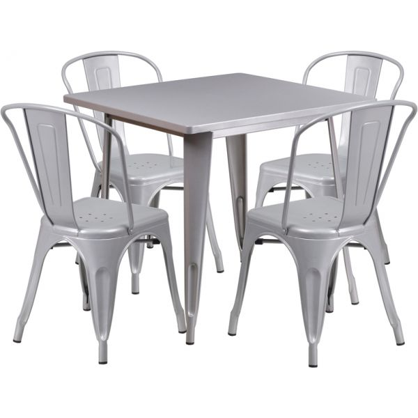 Flash Furniture 31.5'' Square Silver Metal Indoor-Outdoor Table Set with 4 Stack Chairs