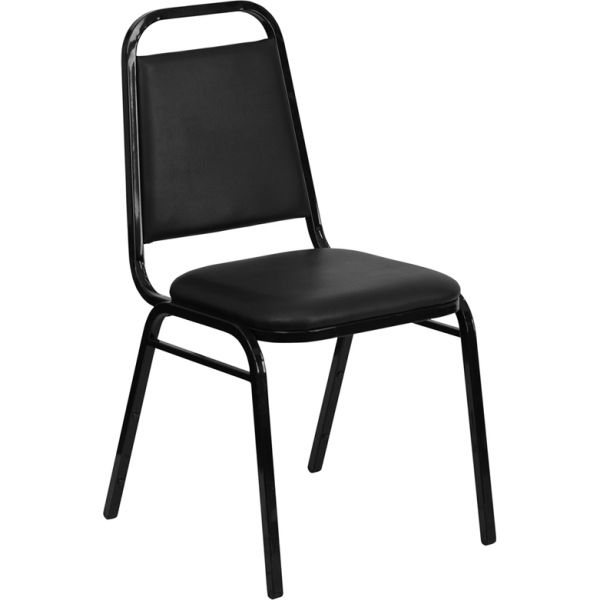 Flash Furniture HERCULES Series Trapezoidal Back Stacking Banquet Chair with Black Vinyl and 1.5'' Thick Seat - Black Frame