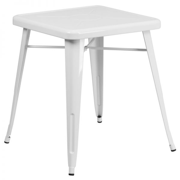 Flash Furniture 23.75'' Square White Metal Indoor-Outdoor Table