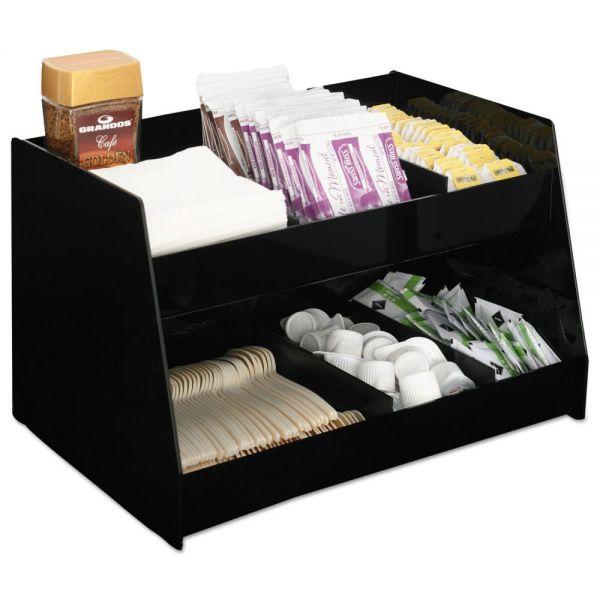 Boardwalk Condiment Organizer, 14 1/3 x 10 1/2 x 9 2/3, 6-Compartment, Black