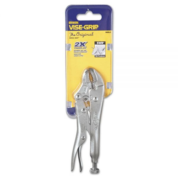 """IRWIN Original Curved-Jaw/Cutter Locking Pliers, 5"""" Tool Length, 1 1/8"""" Jaw Capacity"""