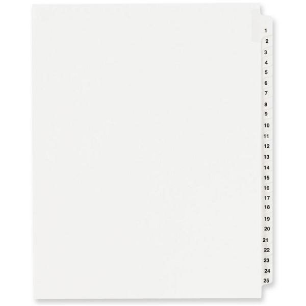 Avery-Style Legal Exhibit Side Tab Divider, Title: 1-25, Letter, White