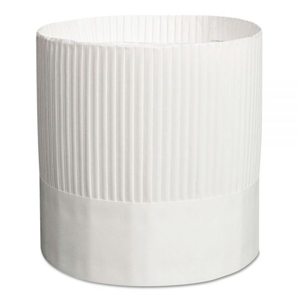Royal Stirling Fluted Chef's Hats, Paper, White, Adjustable, 7 in. Tall, 15/Carton