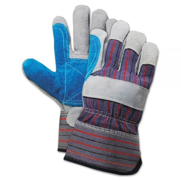 Boardwalk Cow Split Leather Double Palm Gloves, Gray/Blue, Large, 1 Dozen