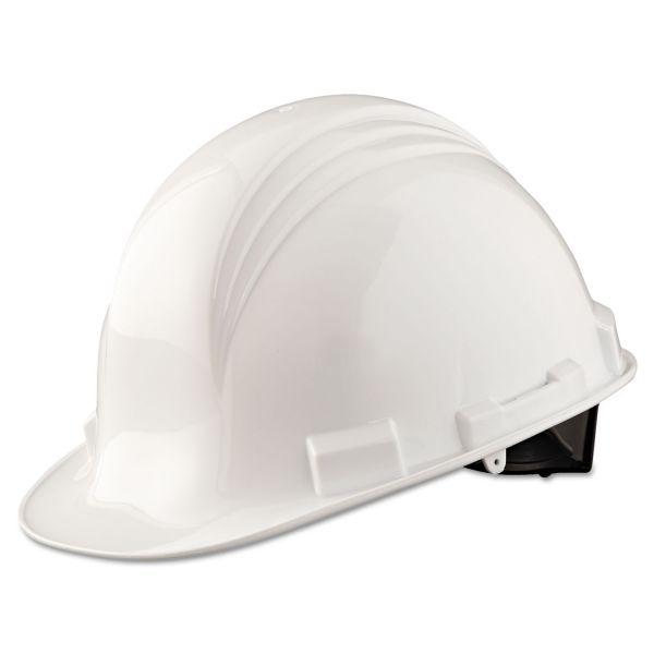 North Safety A-Safe Peak Hard Hat, 4-Point Ratchet Suspension, White