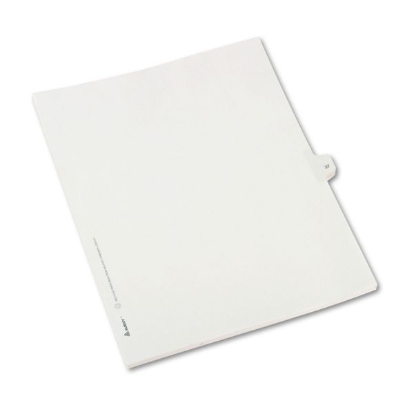 Avery Allstate-Style Legal Exhibit Side Tab Divider, Title: 37, Letter, White, 25/Pack