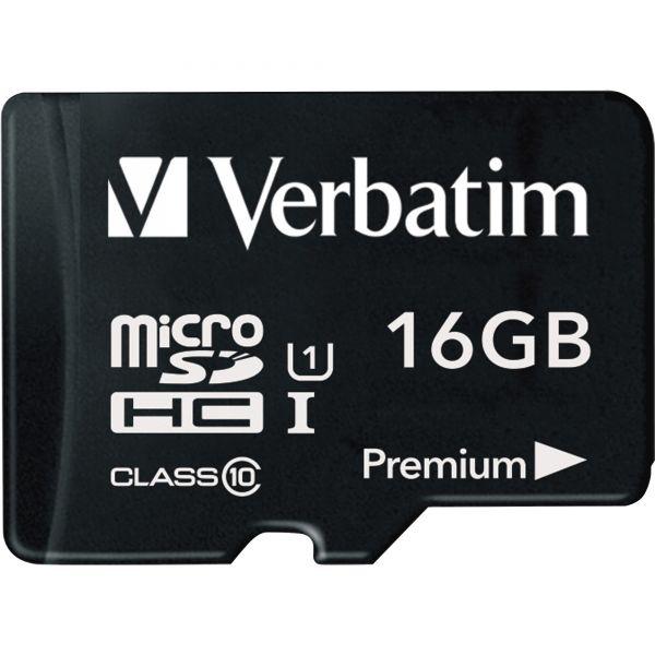 Verbatim 16GB Premium microSDHC Memory Card with Adapter, UHS-I Class 10
