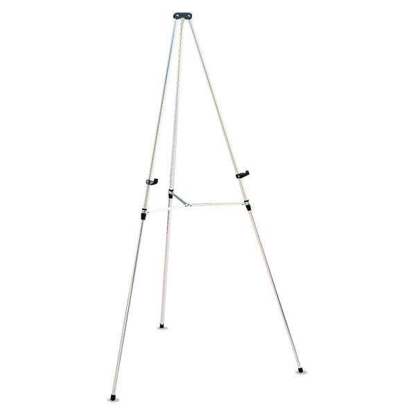 "Quartet Lightweight Telescoping Tripod Easel, 38"" to 66"" High, Aluminum, Silver"