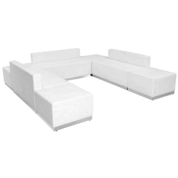 Flash Furniture HERCULES Alon Series White Leather Reception Configuration, 7 Pieces