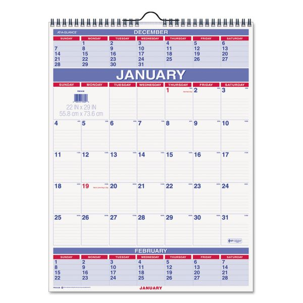 At-A-Glance 3-Month-View Wall Calendar