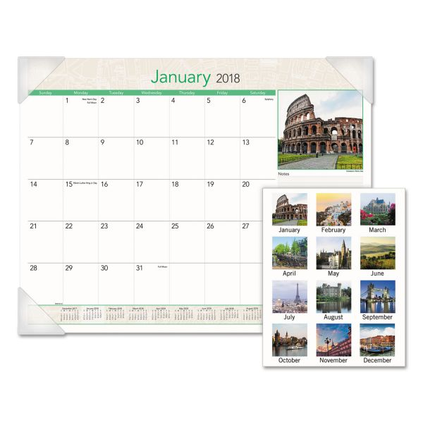 AT-A-GLANCE European Destinations Desk Pad Calendar, 22 x 17, 2018